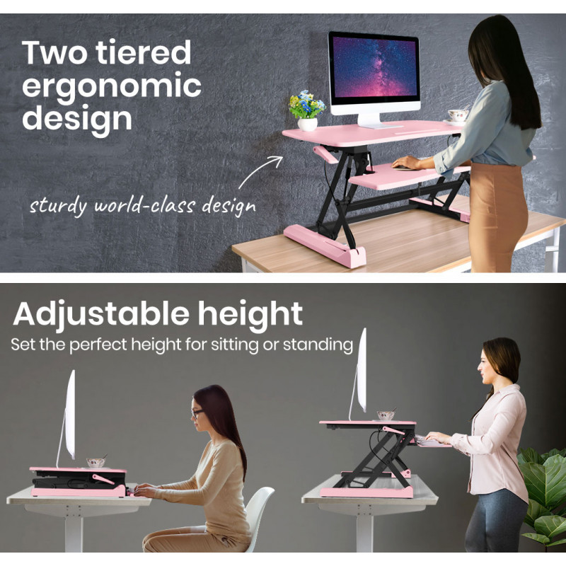 FORTIA Adjustable Sit to Stand Desk Riser for Computer Monitors 90cm, Pink by Fortia