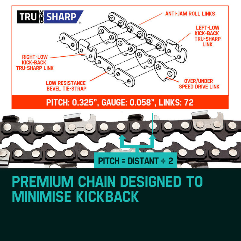 "Baumr-AG 18"" Chainsaw Chain 18in Bar Replacement Suits 45CC Pruning Saws SX45 by Baumr-AG"