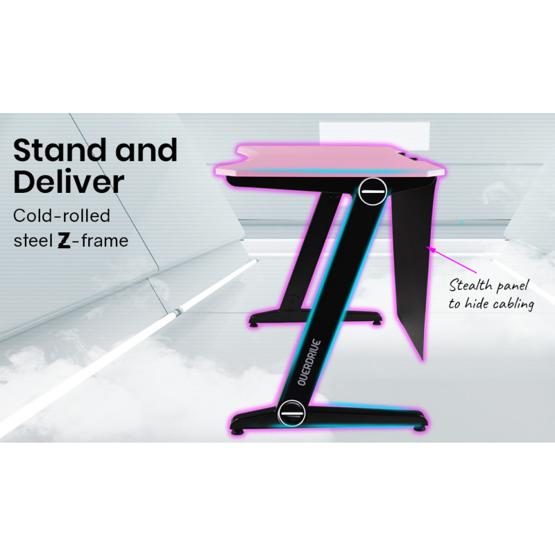 OVERDRIVE Gaming Computer PC Desk Z-Style, Pink and Black, Cable Management by Overdrive