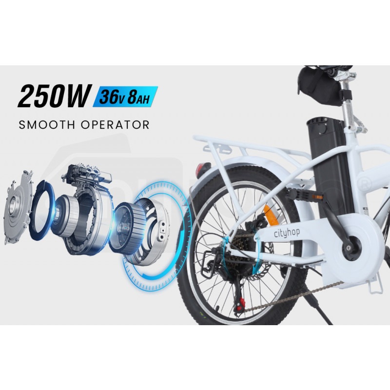 VALK Cityhop 36V 250W Folding Electric e-Bike, Shimano 6 Speed, Disc Brakes, LED Lights, White by Valk