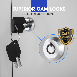 FORTIA 4-Door Metal Gym Storage Lockers, Cam Locks, Clothes Racks, Mirrors, Grey by Fortia