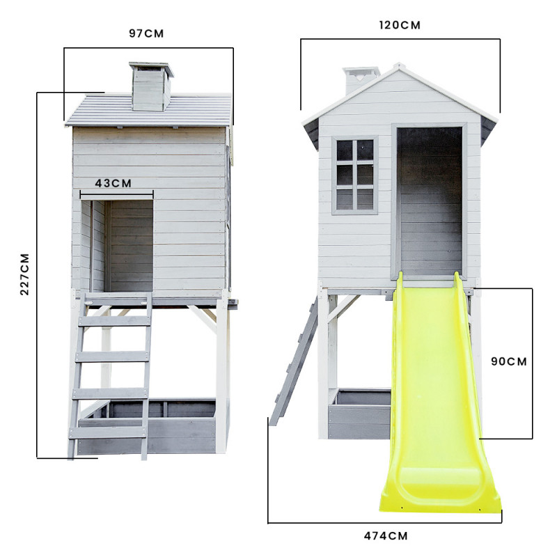 Wooden Tower Cubby House w/ Slide & Sandpit by Rovo Kids