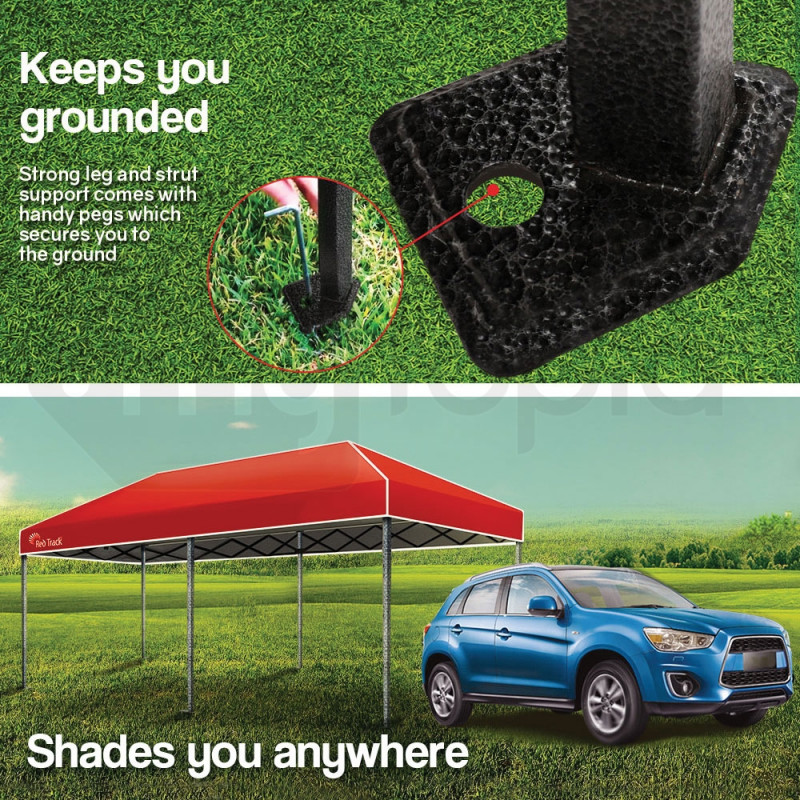 Red Track 3x6m Folding Gazebo Shade Outdoor Red Foldable Marquee Pop-Up by Red Track