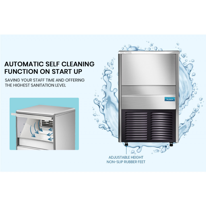 POLYCOOL IM-75L Commercial Ice Machine Maker, Automatic, 45kg/24 hr, Undercounter, Stainless Steel by PolyCool