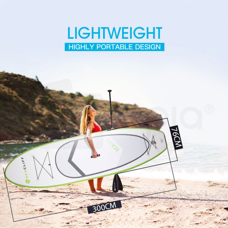 SEACLIFF 10ft Inflatable SUP Stand Up Paddleboard, White and Lime Green by Seacliff