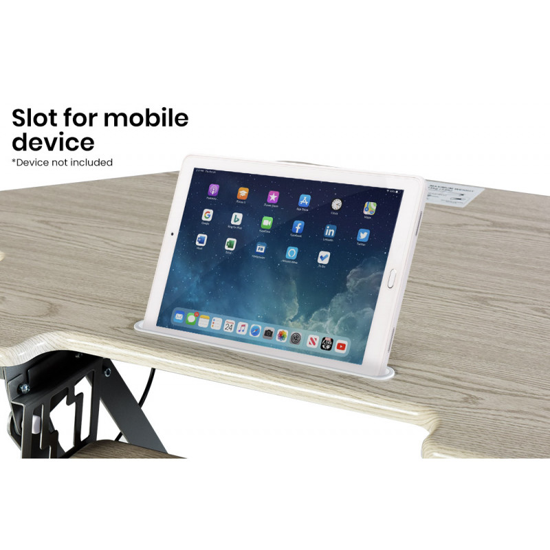 FORTIA Adjustable Standing Desk Riser Monitor Stand for Corner Desk, Beech and Silver by Fortia