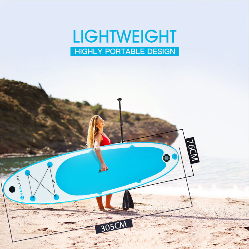 SEACLIFF 300cm Inflatable SUP Stand Up Paddleboard with GoPro Mount, White and Blue by Seacliff