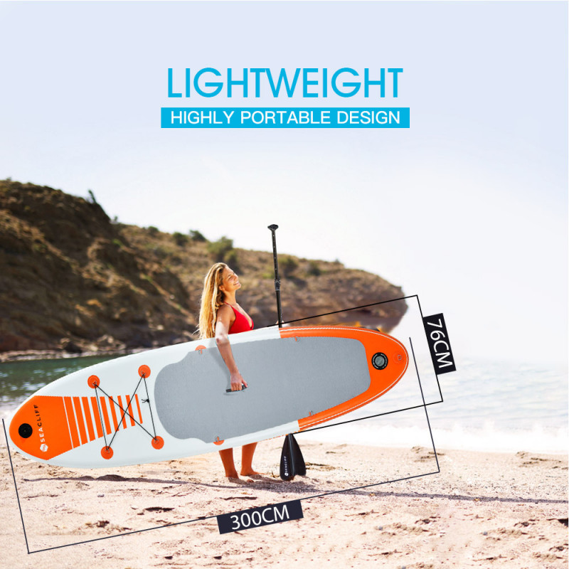 PRE-ORDER SEACLIFF 300cm Inflatable SUP Stand Up Paddleboard with GoPro Mount, White and Orange by Seacliff