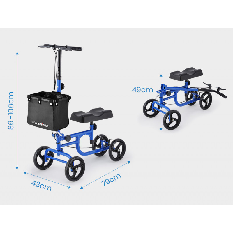 EQUIPMED Knee Walker Scooter, Dual Brakes, Alternative to Crutches, Blue by Equipmed