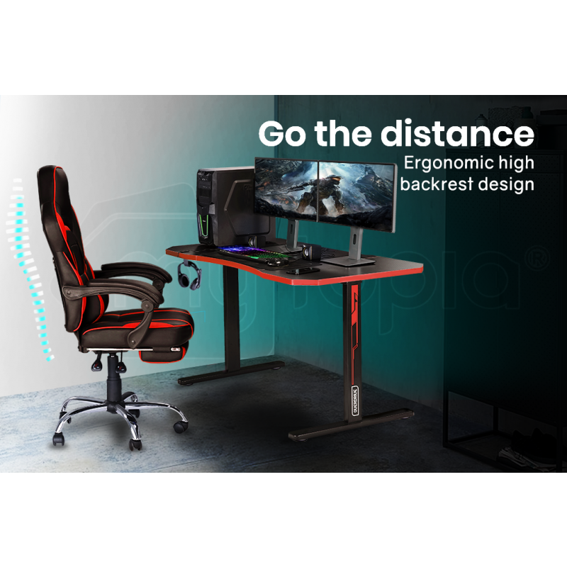 OVERDRIVE Gaming PC Desk Carbon Fiber Style, Black and Red, with Headset Holder, Gaming Mouse Pad by Overdrive