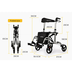 EQUIPMED 2-in-1 Aluminium Rollator and Transit Wheelchair, for Seniors Elderly, Silver by Equipmed