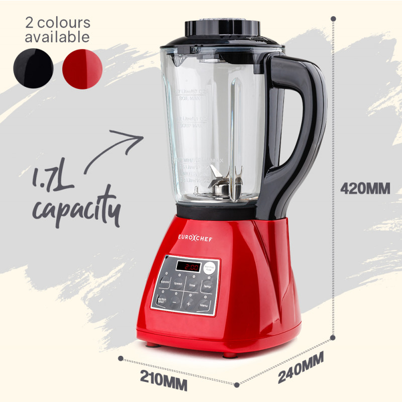 EUROCHEF 10in1 Soup Maker Electric Machine with Glass Jug Blender Smoothie Maker Red by EuroChef