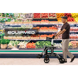 EQUIPMED 2-in-1 Aluminium Rollator and Transit Wheelchair, for Seniors Elderly, Grey by Equipmed
