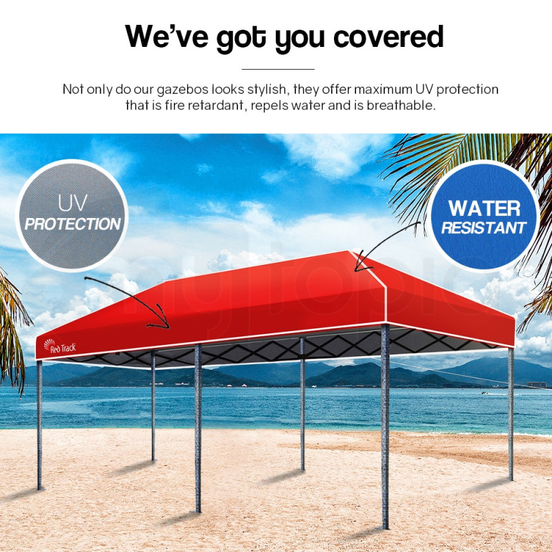 Red Track 3x6m Folding Gazebo Shade Outdoor RED Foldable Marquee Pop-Up Red by Red Track