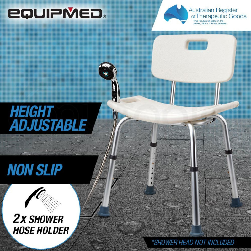 EQUIPMED Adjustable Height Shower Chair Seat with Hand Shower Head Holder by Equipmed