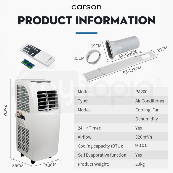 CARSON Portable Air Conditioner Mobile Fan Cooler Cooling Dehumidifier 9000BTU by Carson