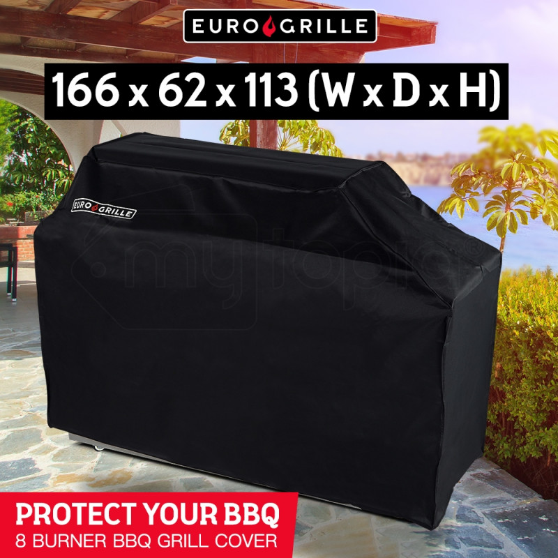 Black Cover for EuroGrille 8 Burner BBQ by EuroGrille