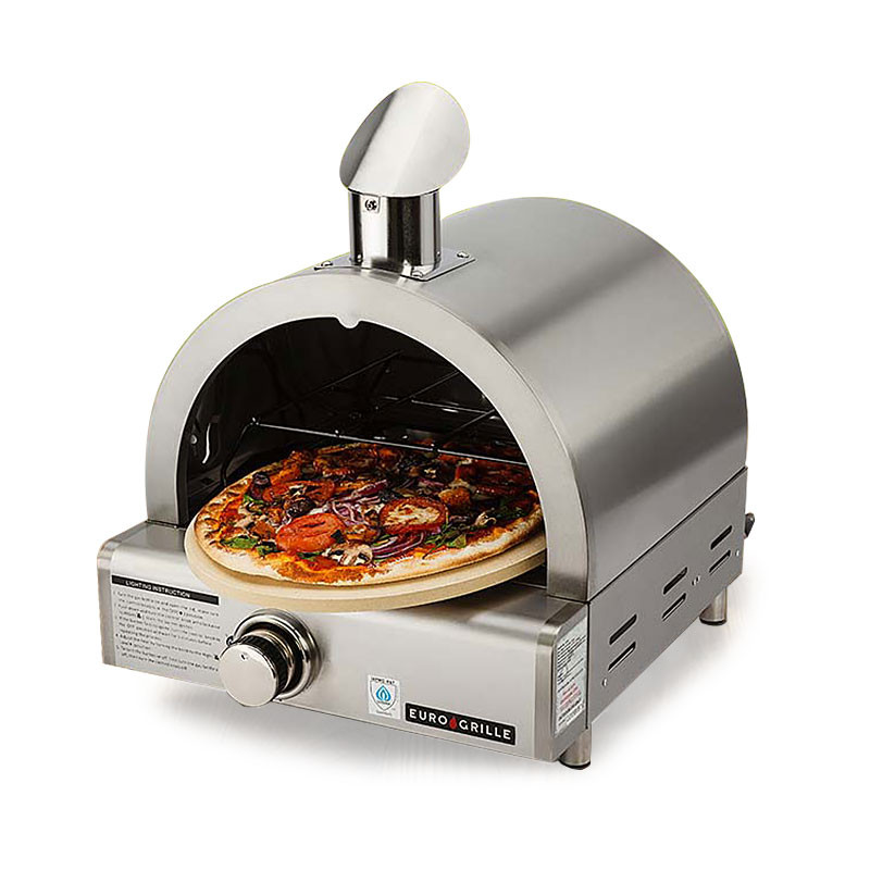 EuroGrille Portable Pizza Oven BBQ Camping LPG Gas Benchtop Stainless Steel by EuroGrille