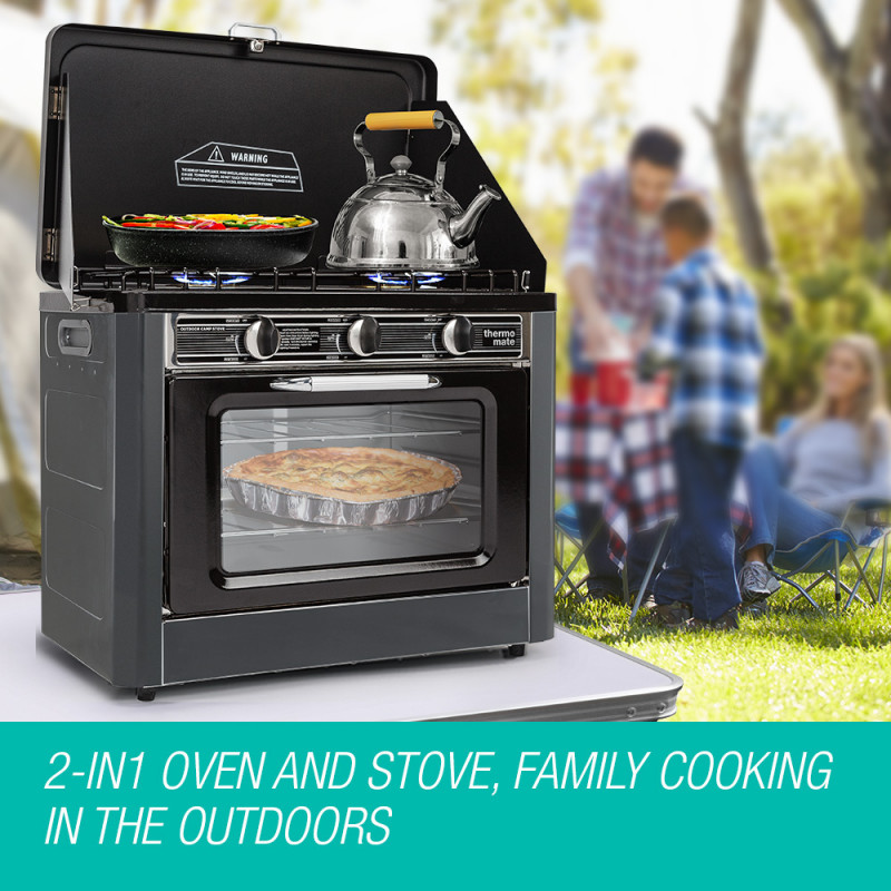 THERMOMATE 3 Burner Gas Portable Camping Oven Stove Combo, Grey by Thermomate