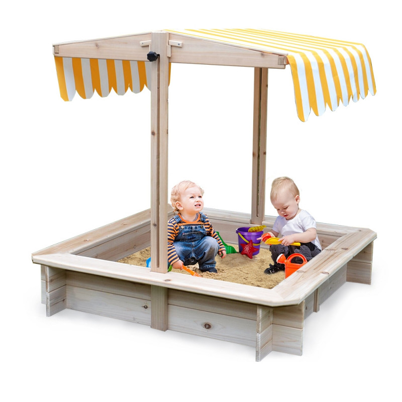 ROVO KIDS Sandpit Toy Box Canopy Wooden Outdoor Sand Pit Children Play Cover by Rovo Kids