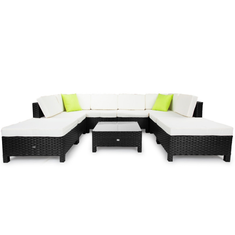 LONDON RATTAN Modular Sofa Outdoor Lounge Set 9pc Wicker Black Light Grey by London Rattan