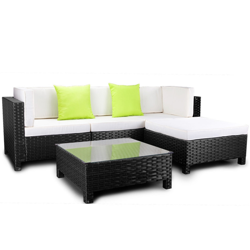 LONDON RATTAN Modular Sofa Outdoor Lounge Set 5pc Wicker Black Light Grey by London Rattan