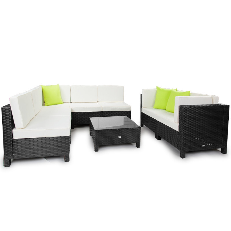 LONDON RATTAN Modular Sofa Outdoor Lounge Furniture 8pc Wicker Black Light Grey by London Rattan