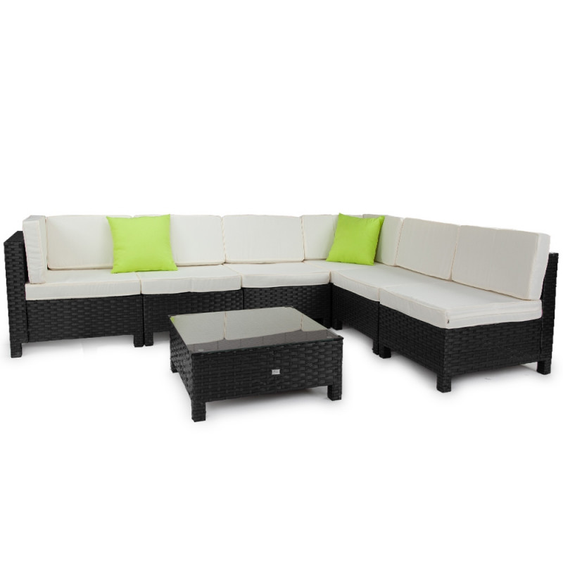 LONDON RATTAN Modular Sofa Outdoor Lounge Set 7pc Wicker Black Light Grey by London Rattan