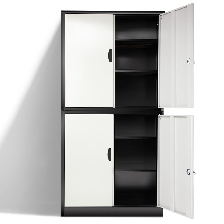 Avante Black/White 4 Door Steel Stationary Office Storage Cabinet by Avante