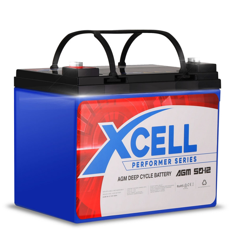 X-CELL AGM Deep Cycle Battery 12V 50Ah Portable Sealed Performer Series by X-Cell