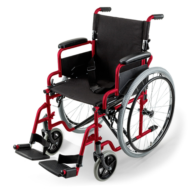 EQUIPMED 24 Inch Folding Wheelchair with Park Brakes, 120kg Capacity, Retractable Armrests, Red by Equipmed