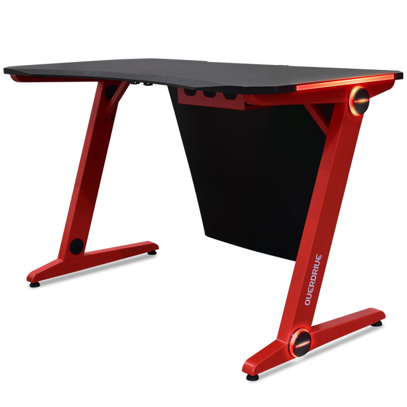 OVERDRIVE Gaming PC Desk 120x60cm Carbon Fiber Styling Red LED Lights by Overdrive