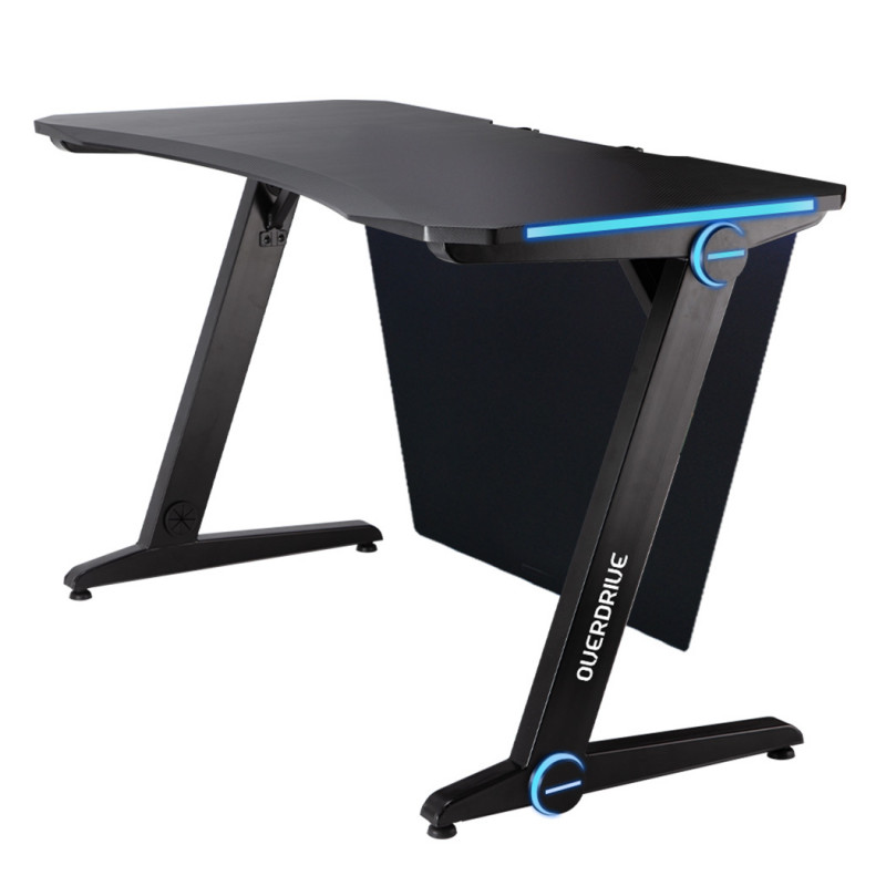 OVERDRIVE Gaming PC Desk 120x60cm Carbon Fiber Styling Blue LED Lights by Overdrive