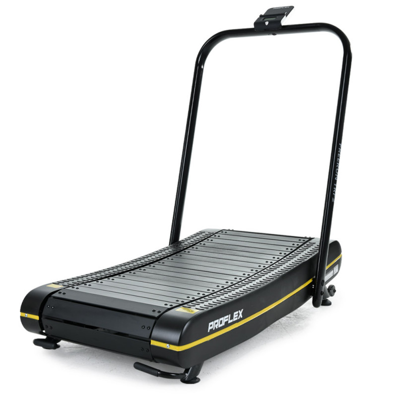PROFLEX Manual Passive Treadmill with Curved Belt, Black and Yellow by Proflex