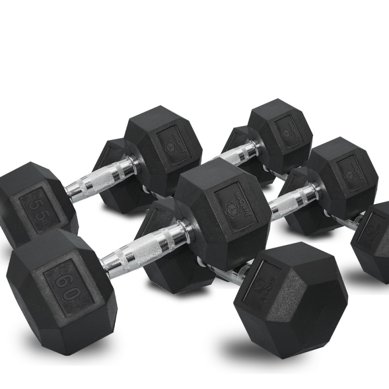 PROFLEX 4 x Pair Set of Rubber-Coated Hex Dumbbells for Bodybuilding Gym Home Fitness Weights Training by Proflex