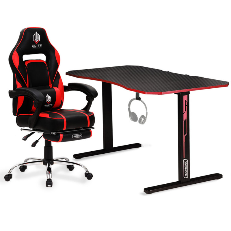 OVERDRIVE Gaming Chair with Footrest and Desk Setup Combo, Black & Red by Overdrive