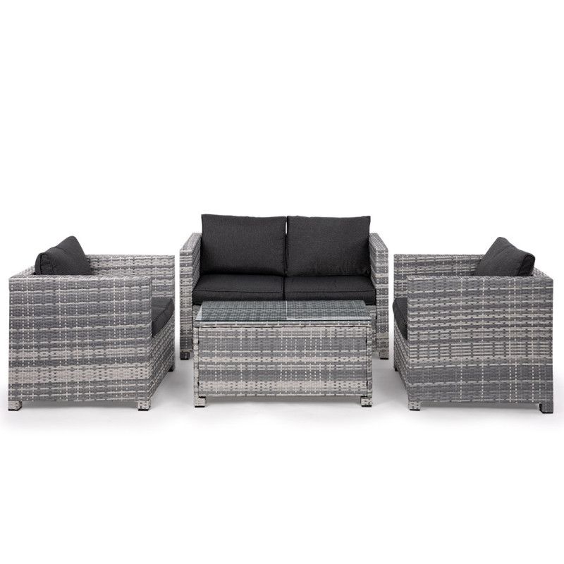 LONDON RATTAN 4pc Outdoor Furniture Wicker with Coffee Table and Chairs Lounge Set by London Rattan