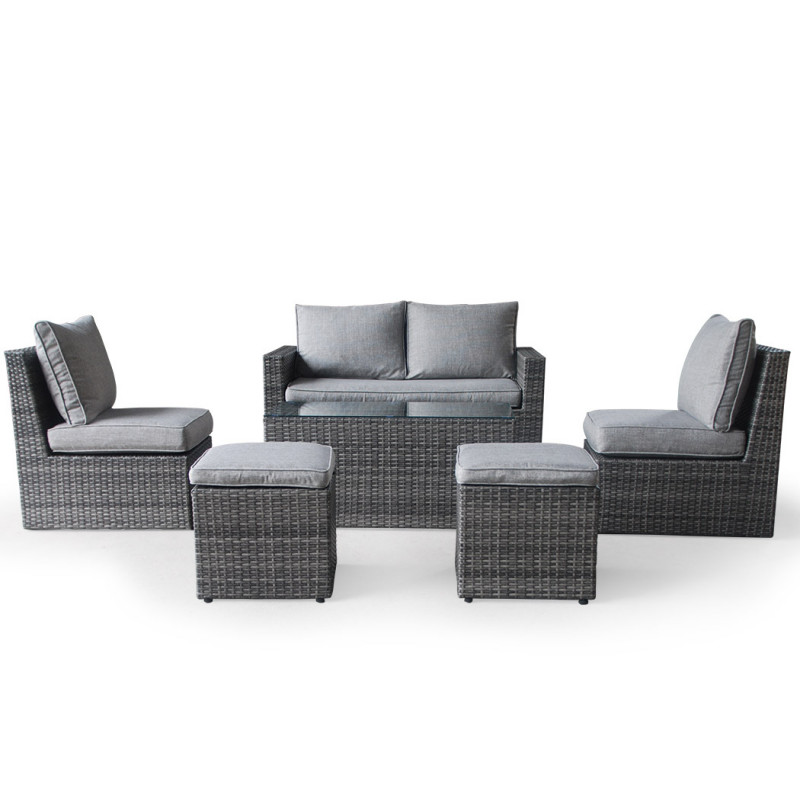 LONDON RATTAN 6pc Outdoor Furniture Wicker Lounge Set with Chairs Ottomans and Coffee Table by London Rattan