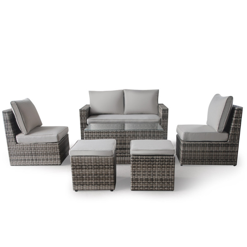 LONDON RATTAN 6pc Outdoor Furniture Wicker Lounge Set with Coffee Table & Chairs Ottomans by London Rattan