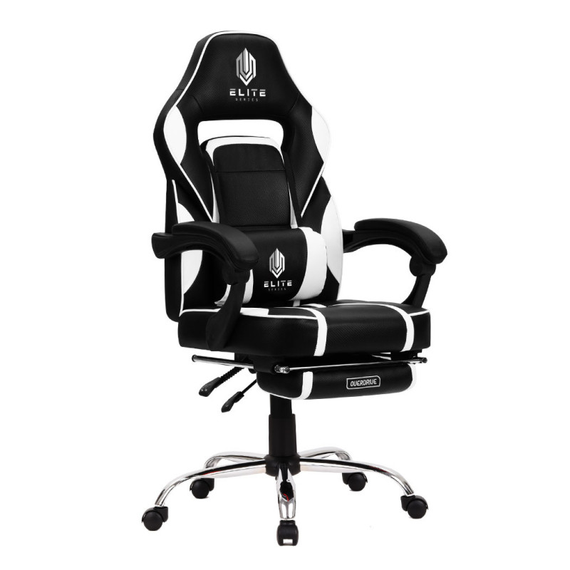 OVERDRIVE Gaming Chair with Footrest and Desk Setup Combo, Black and White by Overdrive