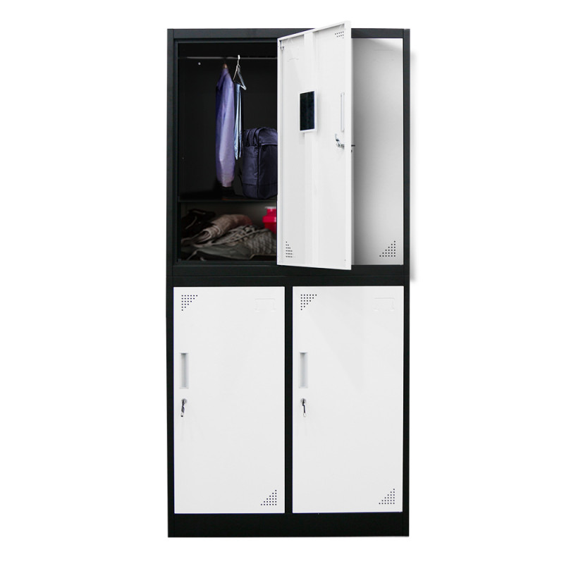 FORTIA 4-Door Metal Gym Storage Lockers, Cam Locks, Clothes Racks, Mirrors, Black and Light Grey by Fortia