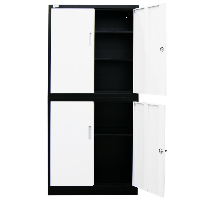 FORTIA 4-Door Steel Stationary Cabinet, Cam Locks, Shelves, Black and White by Fortia