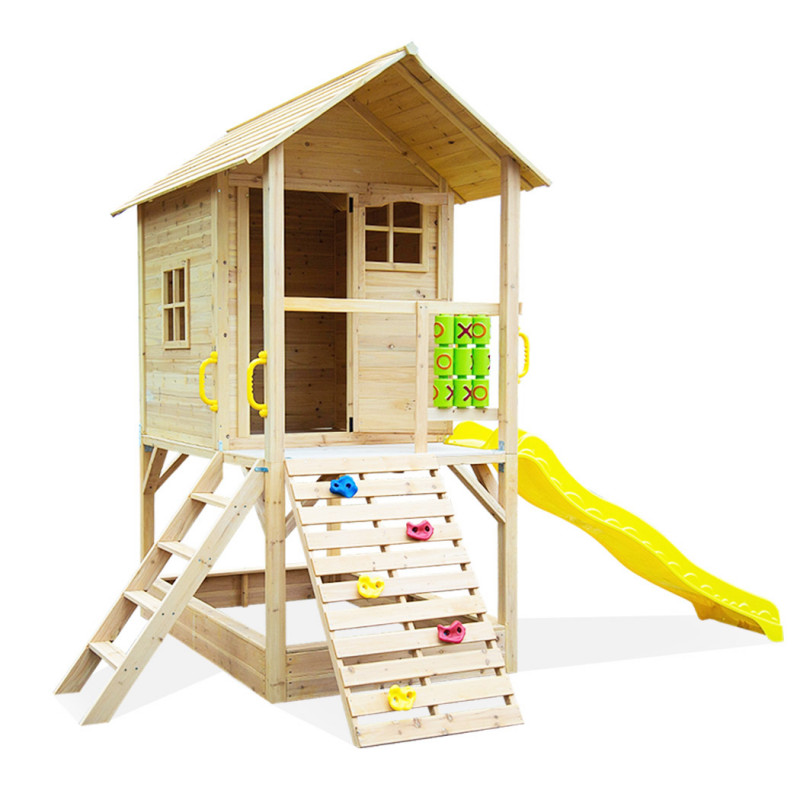 ROVO KIDS Wooden Tower Cubby House w/ Slide, Sandpit, Climbing wall, Noughts & Crosses by Rovo Kids