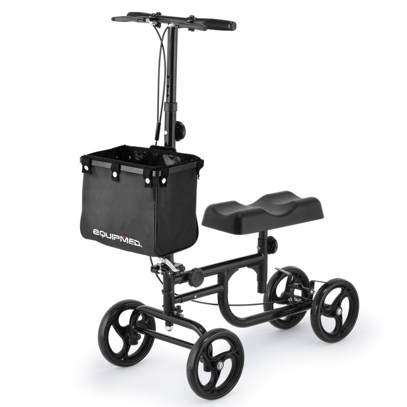 EQUIPMED Knee Walker Scooter, Dual Brakes, Alternative to Crutches, Black by Equipmed