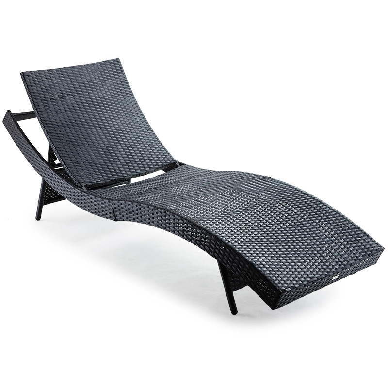 LONDON RATTAN Outdoor Sun Lounge Wicker Day Bed Furniture Pool Chair Sofa Curved Black by London Rattan