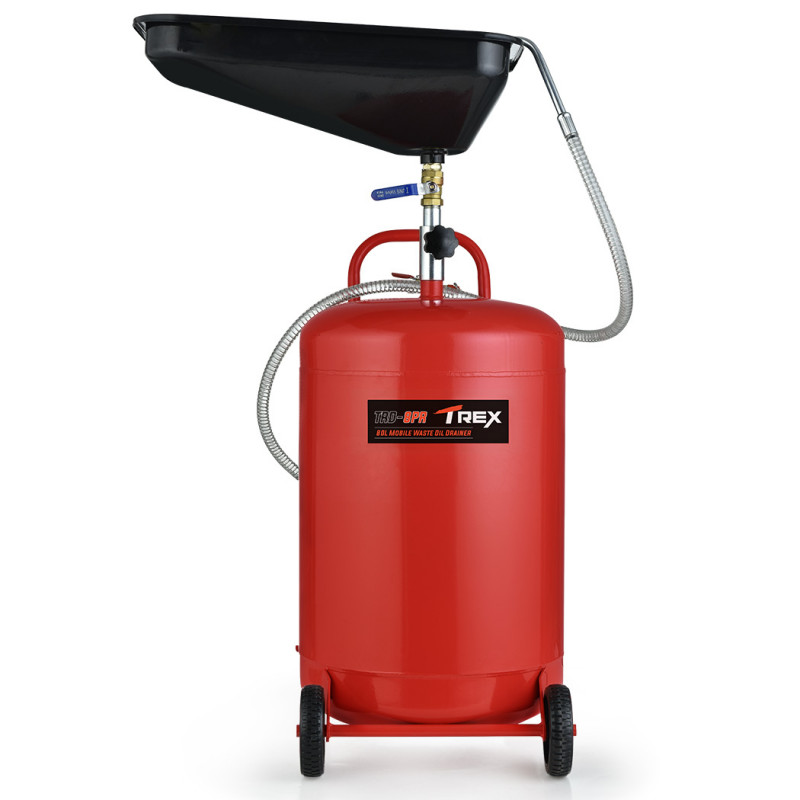 TREX 80L Mobile Waste Oil Drainer Tank, Telescopic, with Air Compressor Fitting, for Workshop by T-Rex