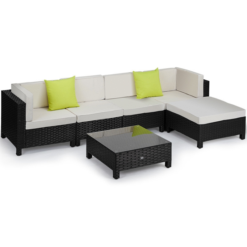 LONDON RATTAN Modular Sofa Outdoor Lounge Set 6pc Wicker Black Cream by London Rattan