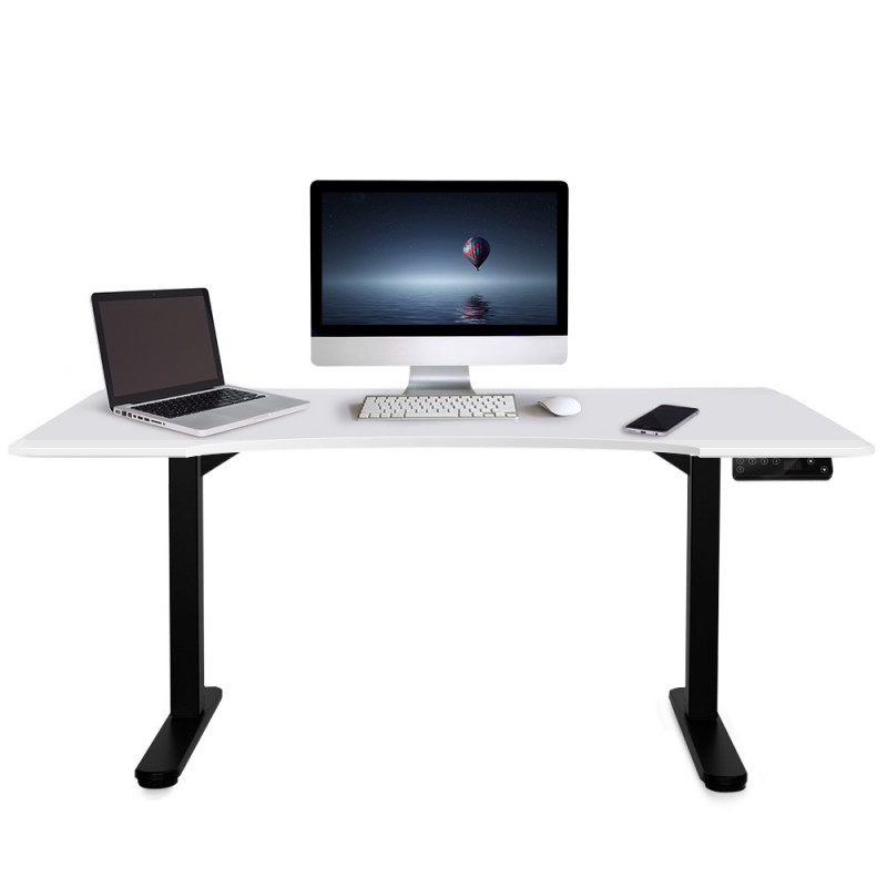 FORTIA Matte White/Black 160cm Sit Stand Curve Height Adjustable Standing Desk by Fortia