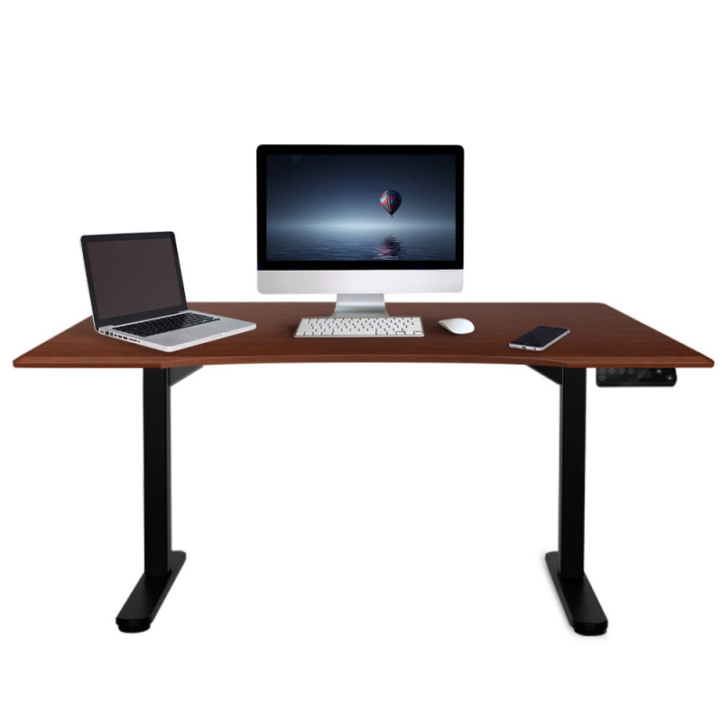 FORTIA Sit/Stand Motorised Curve Height Adjustable Desk 160cm Walnut/Black by Fortia