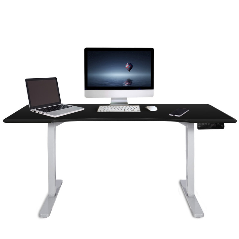 FORTIA Sit/Stand Motorised Curve Height Adjustable Desk 150cm Black/White by Fortia